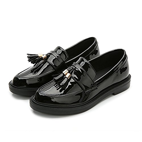 Oxfords Shoes Slip Black Loafer Retro Wing On Tassel Women Shoes Tip Casual Flat Shoes GIY vq5awEE