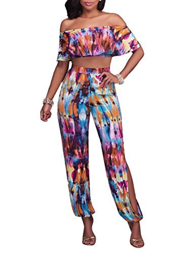 Playworld Women's Strapless Ruffle Hem Floral Print High Split Long Pantsuits 2 Pieces Outfits