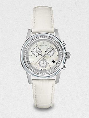 Breil Watch, Women's Chronograph Orchestra White Croco Leather Strap 37mm TW1190
