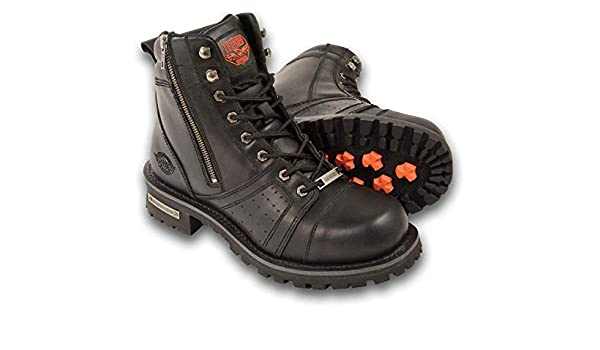 Milwaukee Leather MBM9000 Mens Lace-Up Black Leather Boots with Side Zipper Entry 7