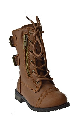 Forever Link Mango-61KA Baby Girls Combat Lace Up Boots Tan 7 Toddler]()