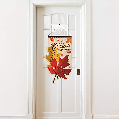 Celebrate Fall Door Sign Door Decor Welcome Banner, Hanging Welcome Door Sign Banner Fabric for Thanksgiving Decoration Happy Autumn(Maple)