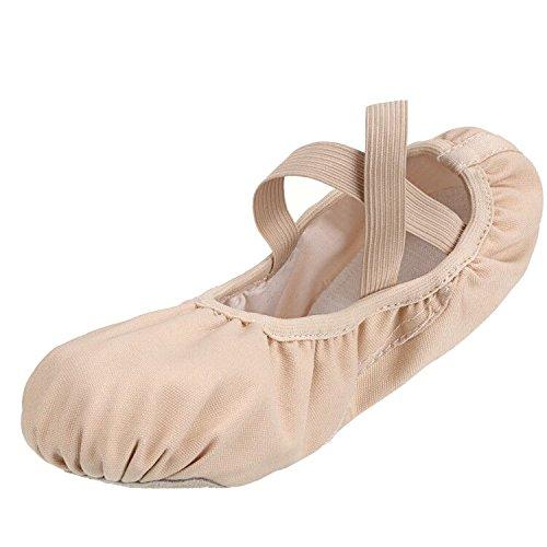 SKYSOAR Zapatos de Ballet de Lona EN Lienzo Zapatillas de Ballet Zapatos de Ballet Zapatos de Gimnasia Suave de Baile Zapatos de Yoga Para Mujer de Mujer Rosa albaricoque