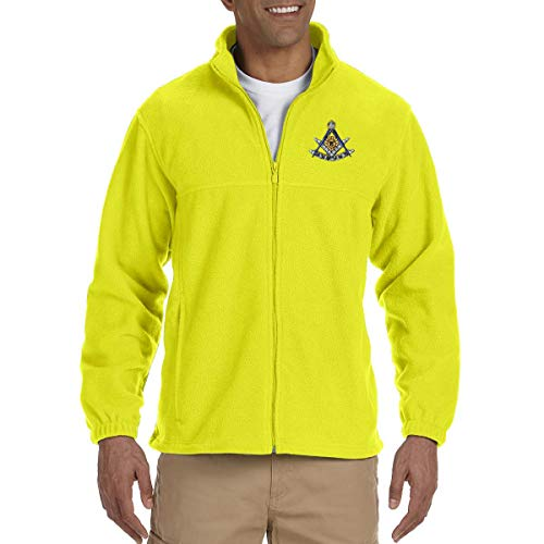 Past Master with Square & Protractor Embroidered Masonic Men's Fleece Full-Zip Jacket - [Yellow][Small]