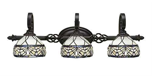 Toltec Lighting Eleganté 3 Light Bath Bar Royal Merlot Tiffany Glass ()