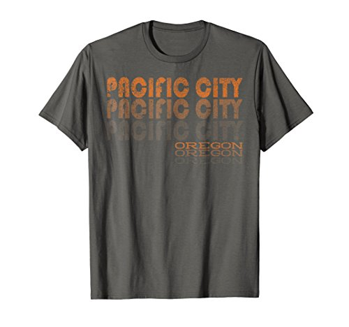Mens Retro Pacific City Oregon T Shirt Large Asphalt