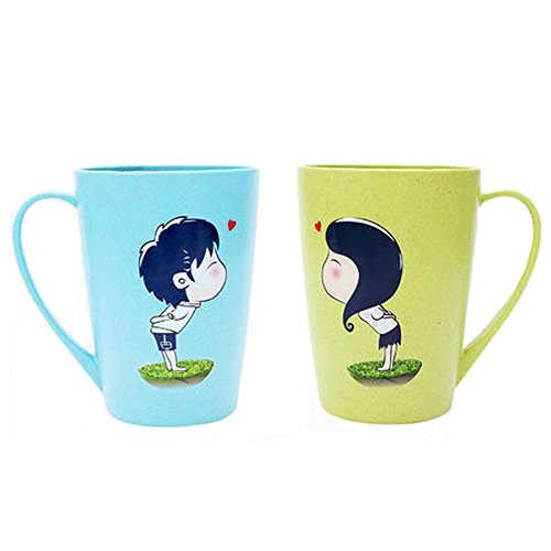 UYIKEA Couple Cups Set Couple Mugs Couple Cup Mug Lover Kissing Cup Water Milk Mug Cartoon Brush Cup Gifts for Couples Lovers Birthday Anniversary Wedding Engagement Blue&Green 12 oz Set -
