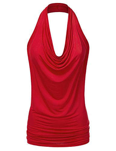 NINEXIS Women's Halter Neck Draped Front Open Back Top RED 2XL (Size Tops Plus Halter)