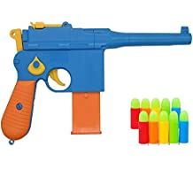 Pinovk Toy Gun, Mauser c96 Shiny Colorful Pistol with Set of Soft Bullets and Animal Empire Ring Set - Safe for Outdoor Fun Summer Play-Best for,Cap Gun, Foam Dart Gun