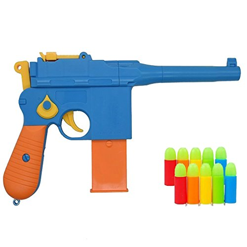 Pinovk Toy Gun, Mauser c96 Shiny Colorful Pistol with Set of Soft Bullets and Animal Empire Ring Set - Safe for Outdoor Fun Summer Play-Best for,Cap Gun, Foam Dart Gun]()
