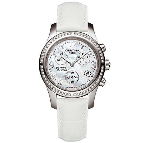 Certina Women's DS Prime 34mm White Leather Band Steel Case Quartz MOP Dial Analog Watch C538.7033.48.96