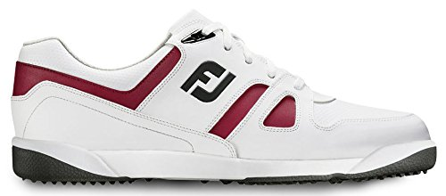Closeout Athletic Shoes (FootJoy GreenJoys Athletic Spikeless Golf Shoes CLOSEOUT 2016 White/Burgundy/Black Medium)