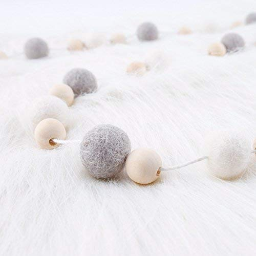 Wooden Beads Wool Ball 30pcs Garland Nursery Decor Farm to Table Baby Rooms Wall Decor Nordic Style Pom Pom Garland let/'s make