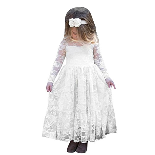 Mädchen Kleider Kinder Kleider Longra Kinderkleidung Mädchen Langarm Prinzessin Kleid Spitze Kleid Lange Kleid Bogen Hochzeit Kleider Partykleid Brautjungfern Abendkleider White