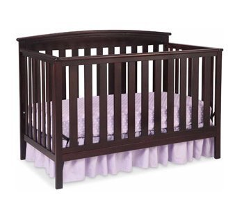 New Beautiful Design Children's Products Gateway 4-in-1 Fixed-Side Crib Dark Chocolate Solid Wood For Baby ()