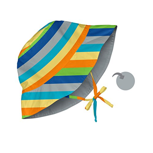 i play. Baby Reversible Bucket Sun Protection Hat, Gray/Multi Stripe, 9-18 Months