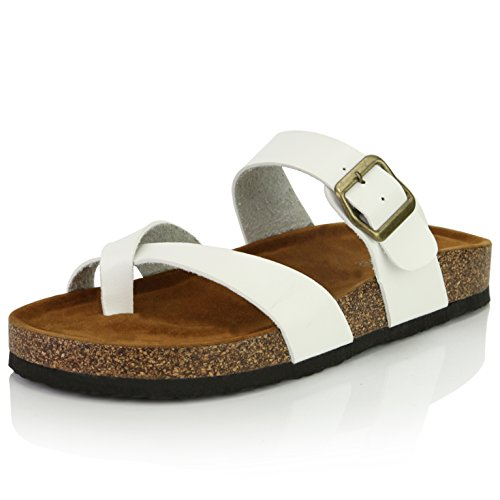 (DailyShoes Women's Fashion Flat Thong Strap Buckle Sandal Shoes, White PU, 8 B(M) US)