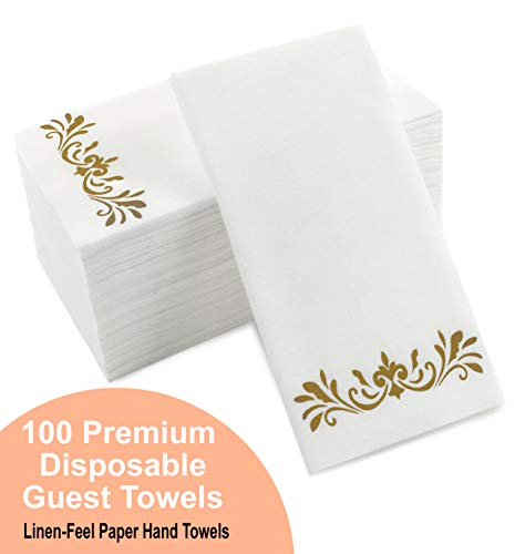 Gold Dinner Napkins, Disposable Party Napkins, Paper Napkins Decorative, Linen Feel Disposable Hand Towels for Wedding, Guest Bathroom & More - White with Gold, 100 Pack, 8.25 x 4 Inches ()