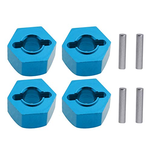 Hobbypark Aluminum 12mm Hex Wheel Hubs Nuts w/Pins Replacement of 1654 for RC Traxxas 1/10 Slash 4x4 & Stampede 4WD (4-Pack) (Blue)