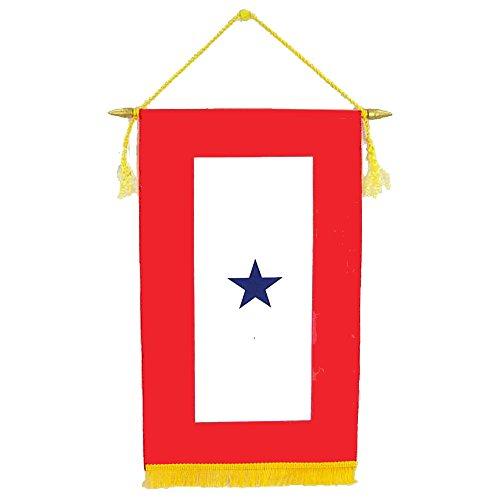 Service Banner - ONE Star Satin 8 in. x 14 in. Blue Star