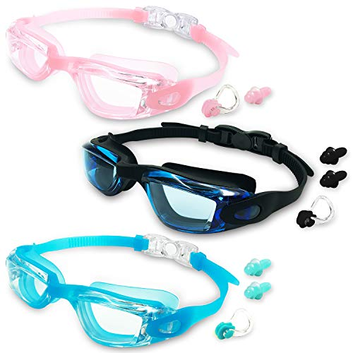 Protection Mask Clear Lens - MOTOEYE Kids Swim Goggles Pack of 3,Swimming Glasses Children Early Teens,Boys Girls from 3 to 15 Years Old Anti-Fog UV Protection Lenses