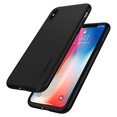 Spigen Thin Fit 360 iPhone X Case with Exact Slim Full Protection with 2 Packs of Tempered Glass Screen Protector for Apple iPhone X (2017) - Black by Spigen (Image #8)