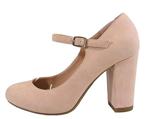 City Classified Women's Comfort Nola Faux Nubuck Leather Mary Jane Chunky High Heel Pink 10