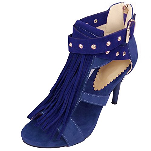 Azbro Mujer Sandalias Estilete Remache con Borlas Puntera Abierta Azul