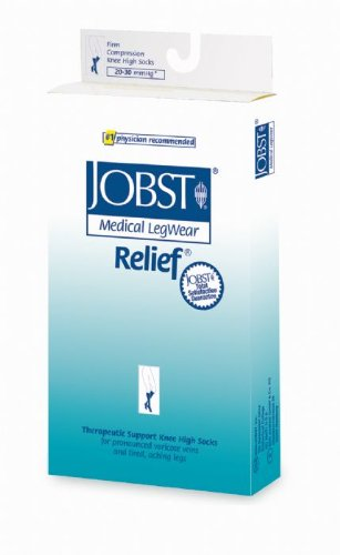 JOBST Relief 20-30 mmHg Compression Socks, Knee High with Silicone Band, Beige, Large
