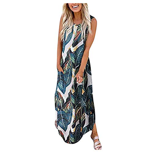 Mortilo Casual Dresses, The Latest Fashionable Sleeveless Casual Pocket Printed Dress for Women(Multicolor_51,M)