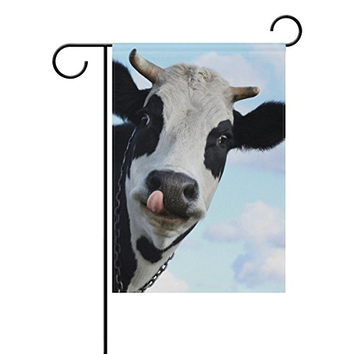 Double Sided Lovely Animal Funny Cow Stretched Out Tongue Polyester Garden Flag Banner 12 x 18 Inch for Outdoor Home Garden Flower Pot Decor