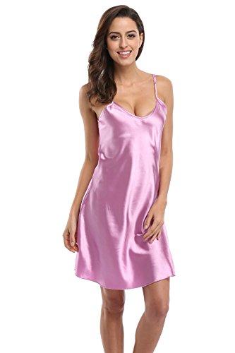 (KimonoDeals Women's Satin Nightshirts Camisole Nightgown Chemises Slip Sleepwear, Violet 3XL)