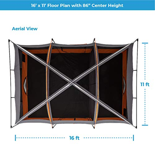 CORE 12 Person Extra Large Straight Wall Cabin Tent – 16′ x 11′