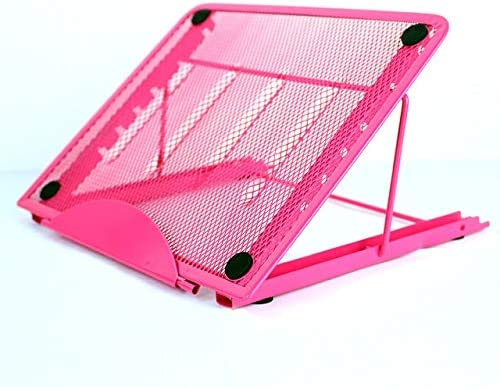 Portable Desktop Folding Cooling Metal Mesh Adjustable Ventilated Holder Color : Pink