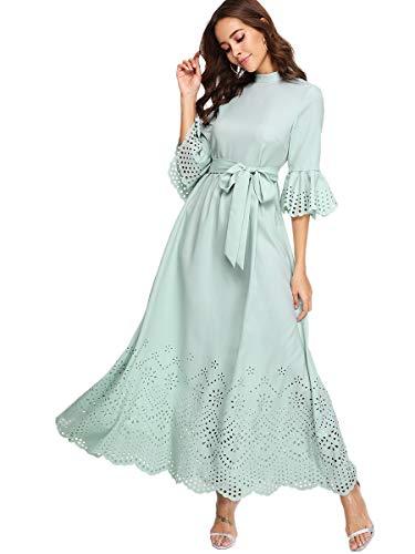 Milumia Womens Scalloped Laser Cut Flounce Sleeve Hem Self Belted Maxi Dress