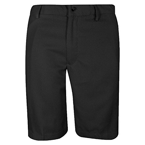 Greg Norman Mens Flat Front Microfiber Golf Shorts, Black, 34 Microfiber Flat Front Shorts