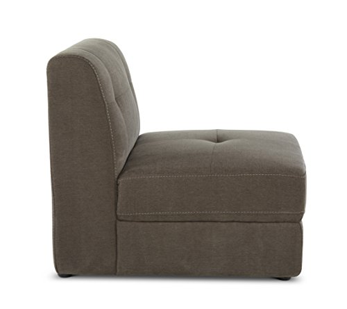 Stitch & Time, Bradford Fabric Armless Chair Sectional Piece, Granite
