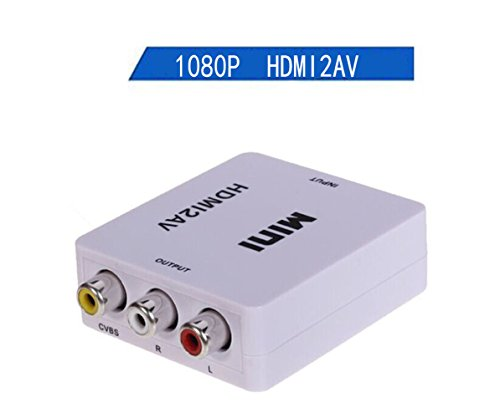 Video Analog Audio - 1080P HDMI to AV (3RCA)/ CVBs,JOMOQ Mini HD Video Audio Converter Adapter with USB Charge Cable,Supporting NTSC/PAL for Xbox PS4 PS3 PC Laptop TV STB VHS VCR and DVD Camera