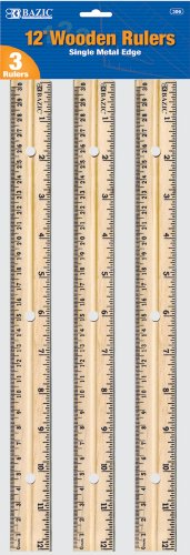 Bazic Wooden Ruler, 12 Inches (30cm), 3 per Pack (Case of 144) by Bazic
