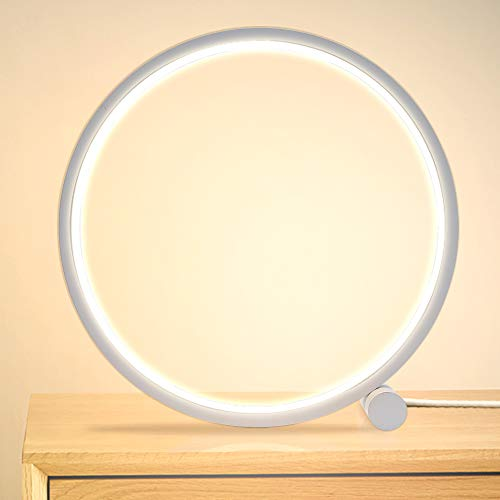 MAYTHANK Modern Circle Design Table Lamp Dimmiable,Metal Beside Lamp for Bedroom,3 Colors Mode, LED Desk Reading Light for Living Room Office