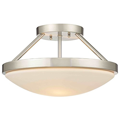 Satin Nickel Semi-Flushmount Ceiling Light with Satin White Glass