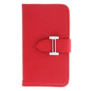 Nsaneoo - Purse Designed Litchi Pattern PU Full Body Case with Card Slot for iPhone 4/4S (Assorted Colors) , Red
