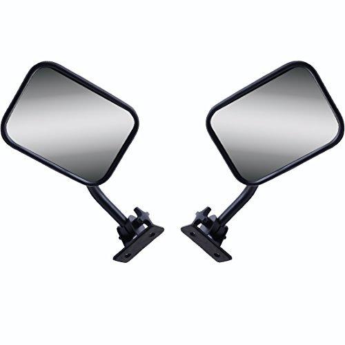 AutoMotor A Pair 7 INCH Rectangular Off Road Barricade Adventure Mirrors, doorless Off Side Rear View Mirror for 2007-2017 Jeep Wrangler JK JKU TJ Door Off Mirrors doorless Mirrors Black Accessories ()