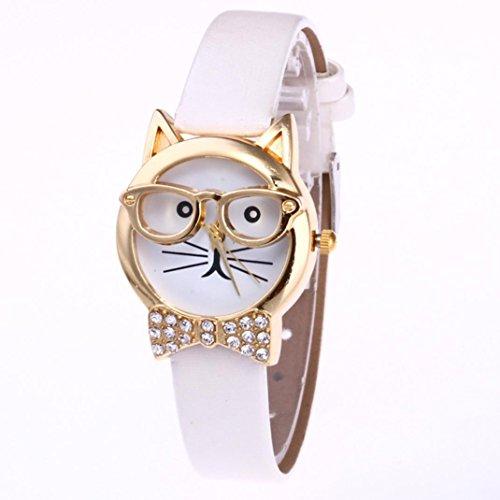 Han Shi Watch, Fashion Women Cute Cat Analog Quartz Dial Wrist Watch Thin Belt Bracelet (M, - Alloy Returns Clothing