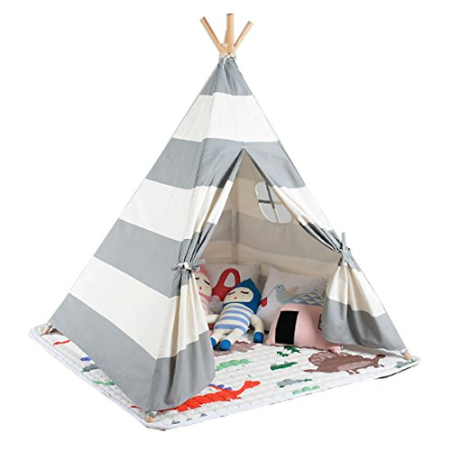 White and grey color New design children game room play tent indian Teepee with mat by FREE LOVE (Image #1)