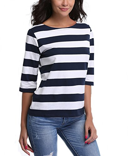 1/2 Sleeve Top (MISS MOLY Women's Boat Neck 1/2 Sleeves Striped Casual Tee T-Shirt Tops,L)
