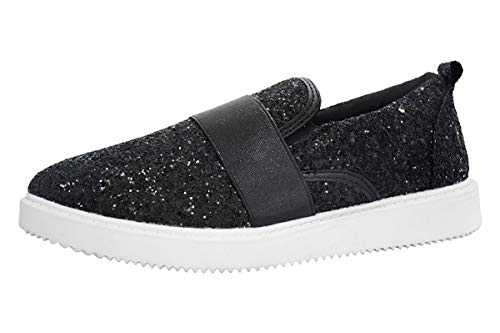 ROXY-ROSE Glitter Leopard Loafer Sneakers Casual Slip on Sparkly Shoes for Women (8 B(M) US, Black)