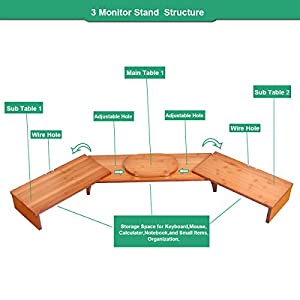 Triple Monitor Stand Riser Desktop 3 Shelf Bamboo Wood Computer Riser Screen Holder With Adjustable Lenth Angle Corner Dual PC Shelf Desktop Organizer with Keyboard Storage (42-50 inch)