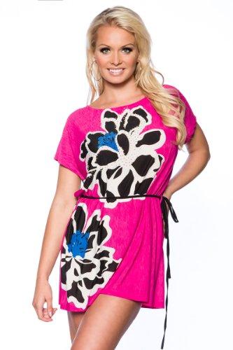 in 1001 kleine 6 sachen 'bei Shirt Beach T Farben Sommer Malibu Kleid MulticolorCandy Mini Pink Mode Tunika mit Strass jLAqR354