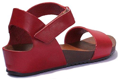 Mini Women Reece Sandal Wedge Footbed Justin Comfort Red Leather Strap nE4xqIxW78